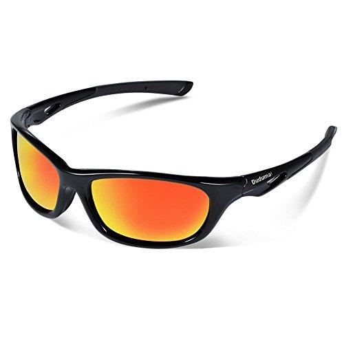 Duduma Gafas de Sol Deportivas Polarizadas Perfectas Para Esquiar Golf Correr Ciclismo con el Marco Du646 Irrompible Para Hombre y Para Mujer (marco negro con lente roja)