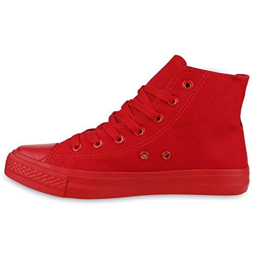 Damen Herren Unisex Sneaker High Schnürer Denim Sneakers Camouflage Sportschuhe Turnschuhe Glitzer Stoff Schuhe Übergrößen Flandell All Rot