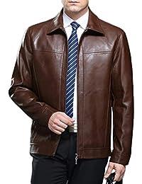 PFSYR Veste en Cuir pour Hommes, col Montant Mode Manteau en Cuir véritable  de Haute qualité, Automne et Hiver Chaud et Confortable… b456c064c73