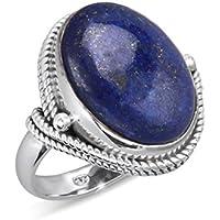 Bague rétro en Lapis Lazuli serti d'une collerette en argent massif