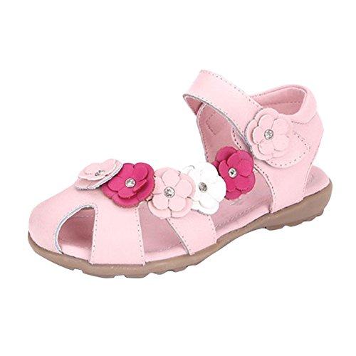 Juleya Mädchen Geschlossene Sandalen mit Blume,Leder Lauflernschuhe beleuchtet Prinzessin Schuhe Halbsandalen Klettverschluss,Gr.21-37