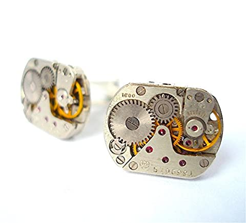 Watch Cufflinks made using Rectangular Watch Movements with Rubies