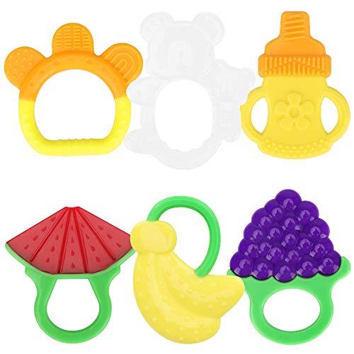 yidenguk Baby Zahnen Beißringe, Natürlicher Kühlbeißring, Obst Silikon-Zehne für Kleinkind Jungen Mädchen BPA-freie Zahnen Set, 6 Stück