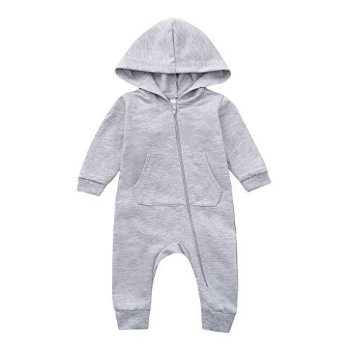 bobo4818 Neugeborenes Baby Jungen Mädchen Cartoon Schaf mit Kapuze Strampler Overall Outfits (3-6 Months, Gray)