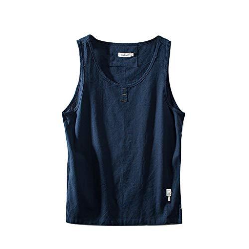 Xmiral Weste Tops Herren Rundkragen Fitness ärmelloses Kleidungsstück Retro T-Shirt Baumwollmischung Hemde Chinesischer Stil Tops Bluse(Dunkelblau,3XL)