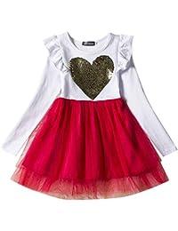 ZhuiKunA Vestido Formal de Niña Bautizo Bautizo Princesa Boda Amor de Lentejuelas 2-5 Años
