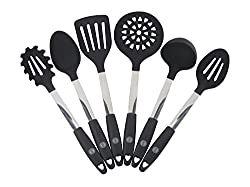 Oishii Kitchen Utensil Set - 6-piece High Quality Black Silicone & Stainless Steel Cooking Tools - Spatula, Mixing & Slotted Spoon, Ladle, Pasta Server, Drainer