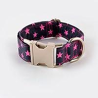 Galguita Amelie - 2,5cm Ancho Talla S (24cm - 40cm), Collar Clic para Perro. Estrellas Rosas.