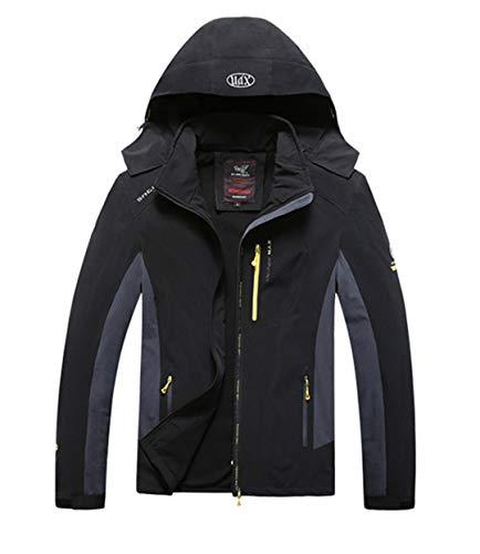 TH&Meoostny Herren Tactical Softshell Jacket Windproof Waterproof Hooded Thin Jacken Mäntel Black L