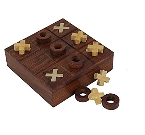 Crafts'man Wooden Tic Tac Toe/ Noughts and Crosses Game Unique Handmade Quality Wood Family Board