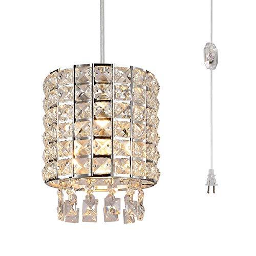 Unbekannt LED Kristall zylindrische Form Kronleuchter Deckenleuchte, Silber Eisen Lampenschirm Moderne antike Wohnzimmer Küche Veranda Balkon Leuchte -