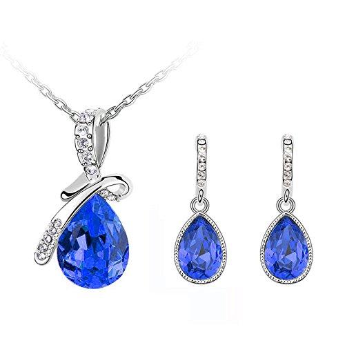 Angelo Blu Scuro Resistente All' Usura e fiocco sera gioielli set di collana e orecchini pendenti, con S710