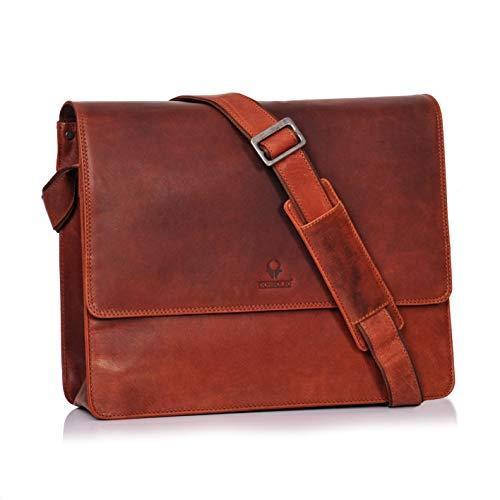 Fach Messenger Bag (DONBOLSO Barcelona Messenger Bag Leder I Umhängetasche für Laptop I Aktentasche für Notebook I Tasche für Damen und Herren (Rotbraun))
