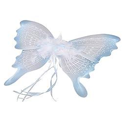 Segolike Feather Ribbon Butterfly Angel Fairy Wings Kid Girls Party Fancy Dress Blue