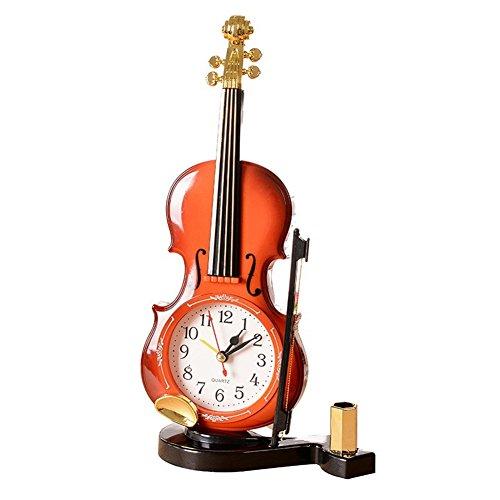 GS Tischuhr mit Stiftehalter in Form einer klassischen Violine, Geige, Instrument, Quarzwecker,...