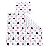 TupTam Unisex Baby Bettwäsche Wiegenset 4-teilig, Farbe: Zickzack Grau/Sterne Rosa, Größe: 80x80 cm