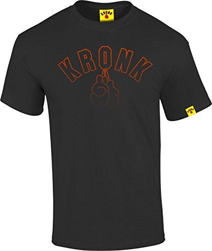 Kronk, t-shirt da uomo stile vintage, con stampa di guantoni da box, vestibilità: normale Black