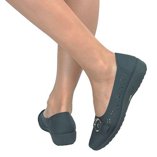 Perfetto Me da donna Ballerina Casual mettere Comfort Dolly da lavoro Ballerina classica fiocco piatto pompe scarpe Nero (Black Buckle Faux Leather)