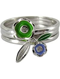 Stack Ring Co Sterling Silver Rhodium Plated Freedom Green Leaf Stack Ring Set