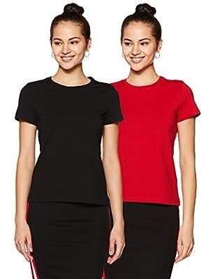 Amazon Brand - Symbol Women's Plain T-Shirt (Pack of 2)