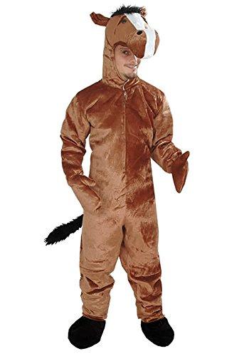 Pferd braun offen Einheitsgrösse XXL Kostüm Fasching Karneval Maskottchen (Mensch Pferd Kostüm)