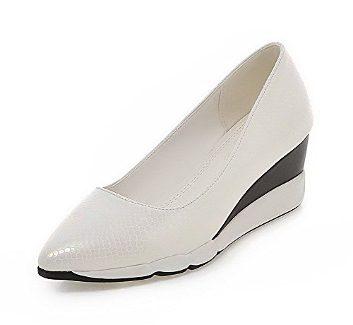 AllhqFashion Femme Tire Pu Cuir Pointu à Talon Correct Couleur Unie Chaussures Légeres Blanc