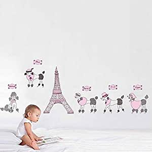 pi cartoon rosa eiffelturm pudel kids kinderzimmer. Black Bedroom Furniture Sets. Home Design Ideas