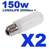 2xLonglife Halostar Double Envelope Halogen Modelling Bulb/Lamp 150w for Bowens/Elinchrom/Interfit/KARLite/Elemental & Generic Flash Heads