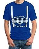 Oktoberfest Outfit - Meine Lederhose ist in der Wäsche - Trachten Herren Tshirt Large Blau