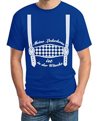Oktoberfest Outfit - Meine Lederhose ist in der Wäsche - Trachten Herren Tshirt Large - Blaue Lederhosen Kostüm