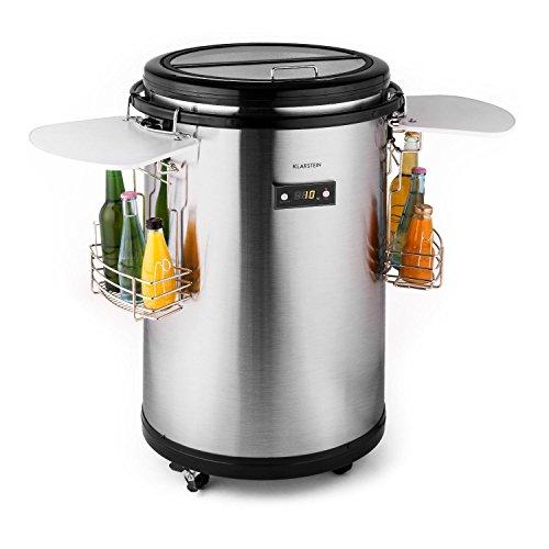 Klarstein • Mr. Barbot • Minibar • Mini-Kühlschrank • Getränkekühlschrank • Kühlbox • Getränkefass • A+ • 50 Liter • 4 Getränkekörbe • Höhe: ca. 82,6cm • Durchmesser: ca. 50,8cm • Gewicht: ca. 24kg • genaue Temperaturkontrolle über LCD-Display möglich