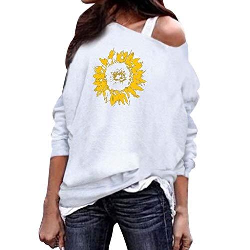 Tohole Schulterfrei Oberteil Damen Langarm Pullover Langarmshirt Sweatshirt Sexy Oberteil Tops Hemd (Weiß,4XL) -