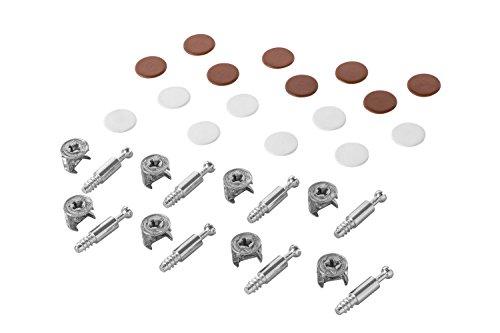 Preisvergleich Produktbild Gedotec Möbelverbinder Exzenter Schrank-Verbinder MINIFIX 15 mm / Abdeckkappen braun & weiß / Verbinder für Bohrloch Ø 5 mm / Komplett-Set - MADE IN GERMANY / Möbelbeschläge / 1 Set