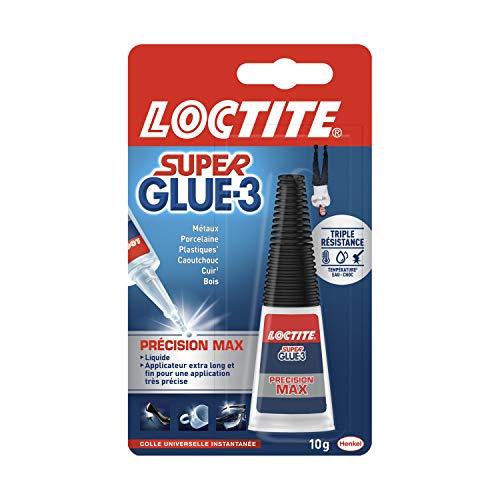 Loctite Super Glue-3 Précision Max, colle forte pour réparations précises, colle liquide tous matériaux, colle transparente à séchage rapide, flacon 10 g