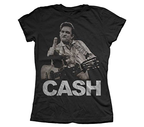Johnny Cash - Frauen The Bird T-Shirt Black
