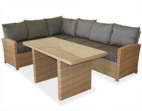 KMH, große naturfarbene Gartensitzgruppe Lounge Esstisch Sofa Hannover inklusive Auflagen und...
