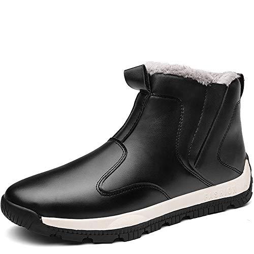 NASONBERG Herren High-Top Sneakers Wasserdichte Warm Gefütterte Winterschuhe Stiefel für Männer Gr.39-48,Schwarz,45 EU