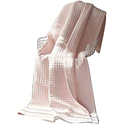Alicemall Ropa de Cama Colcha Patchwork 200x230cm Colcha Bouti para Cama 135cm Cubrecama Rosa Ligero para Primavera y Verano
