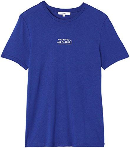 FIND Herren T-Shirt mit Print Blau (French Blue/white)