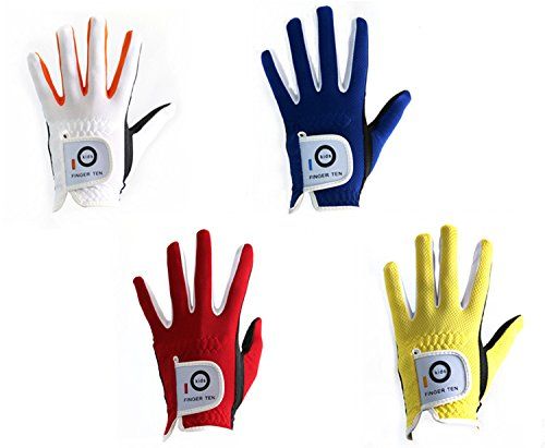 Finger Ten Junior Kinder Dura Feel Golf-Handschuhe, weiß blau rot gelb, 2er-Pack, weiß, X-Large Left