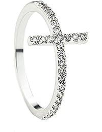 Lateinischen Kreuzes Chic Zirkon Pavé Ring Kristall Klar White Gold überzogen