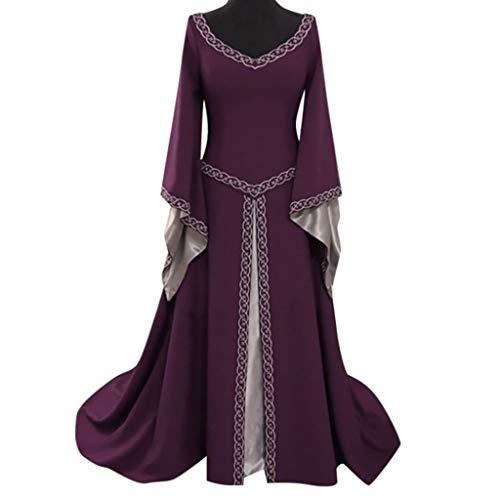 AMUSTER Damen Gothic Kleid Karneval Kostüm Cosplay Langarm V-Ausschnitt mittelalterliches Kleid bodenlangen Cosplay Kleid