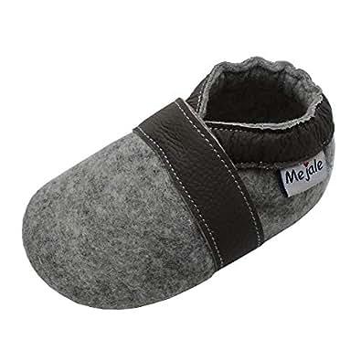 best sneakers a7760 a6a90 Mejale Krabbelschuhe Lauflernschuhe Hausschuhe Lederpuschen Erste Wanderer  Krabbeln Kleinkind Kinderschuhe Pantoffeln Hellgrau