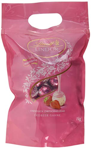 Lindt Lindor Erdbeer-Sahne-Schokoladenkugeln (ca. 80 Kugeln) 1 kg