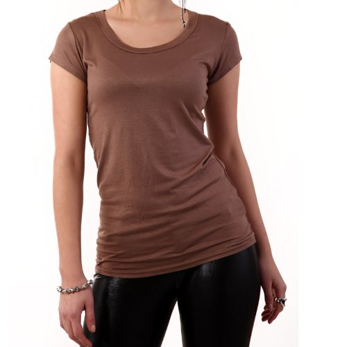 Young Fashion Damen Basic Shirt Kurzarm T-Shirt Uni Braun