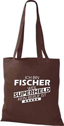shirtstown Borsa di stoffa SONO Fischer, WEIL supereroe NESSUN lavoro è Marrone
