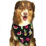 Gxdchfj Pineapple Lips Watermelon Banana Pattern Stylish Dog Bandanas Pet Dog Cat Neckerchief Dog...