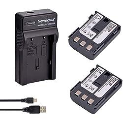 Newmowa Remplacement Batterie NB-2L (2) et Chargeur Micro USB Portable Kit pour Canon NB-2L NB-2LH BP-2L5 BP-2LH et Canon DC301 DC310 DC320 DC330 DC410 DC420 Elura 40 50 60 65 70 80 85 90 EOS 350D