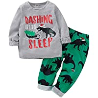 uBabamama Autumn Sale!!! for Toddler Kids Baby Boys Christmas Clothes Set Cartoon Dinosaur Printed Sweatshirt Pullover Tops Pants (Gray,Recommended Age:2-3 Years/110)