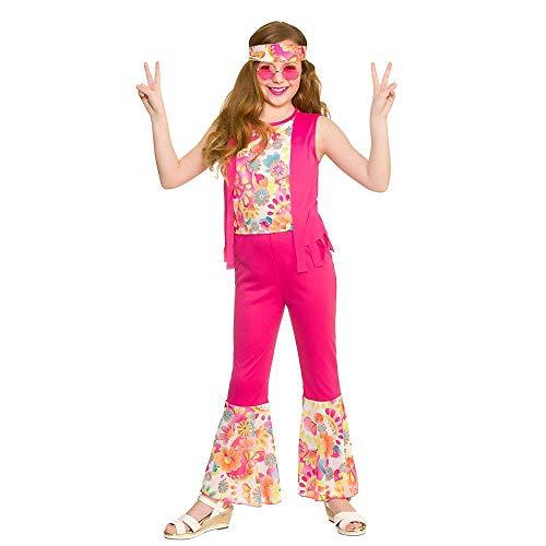 Kostüm Hippie Groovy - Mädchen Rosa Groovy Hippie Kostüm (5-7 Jahre)